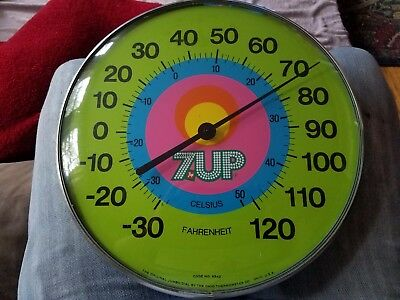 "VINTAGE 7 UP ORIGINAL JUMBO DIAL by OHIO THERMOMETER CO 12"" ROUND THERMOMETER BR"