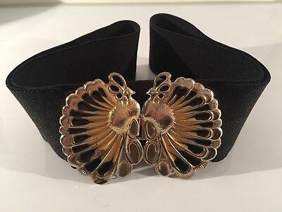 VTG 80s Stretch Waist Belt Peacock Bird Gold Buckle Retro Eighties Nurses Style