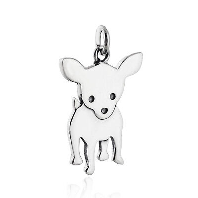 Chihuahua Dog Charm - 925 Sterling Silver - Dog Tiny Love Mexican  Dogs NEW
