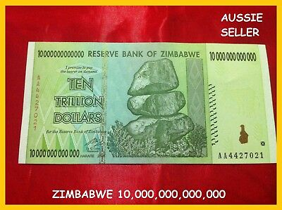 Zimbabwe 10 Trillion Unc Banknotes Dollar Uncirculated  Series Aa/2008 P88