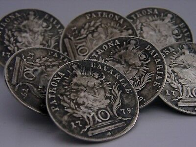 UNUSUAL SET OF 7 SOLID SILVER BAVARIAN 1779 COIN BUTTONS c1900 ANTIQUES