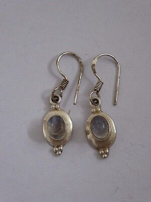 Scottish sterling silver vintage earrings with grey stone.
