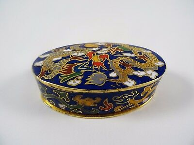 Vintage Cloisonne Enamel Brass Dragon pill box/container Chinese/Asian design