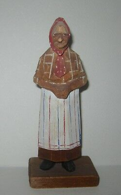 Carl J TRYGG Hand Carved Figurine signed Peasant Woman Folk Art Sweden
