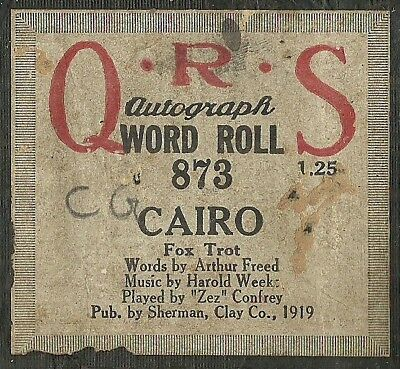 Cairo, played by Zez Confrey, QRS 873 Piano Roll Original