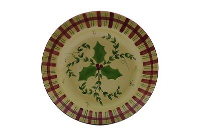 "Laurie Gates Pottery Holly Red Green Plaid 9.5"" Salad Plate (s)"