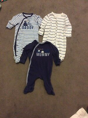 Mothercare - 0-3 Months Baby Grows x3 - Boys