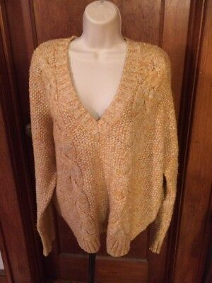 Kimchi Blue Urban Outfitters Sweater Cable Knit Yellows Golds M L EUC 58eac577e