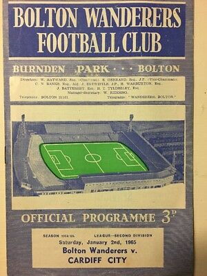 Football Programme Bolton Wanderers V Cardiff City Div 2 2/1/1965 (Postponed)