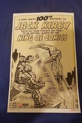 Jack Kirby Fantastic Four IDW NYCC 2017 exclusive 100th Birthday PRINT