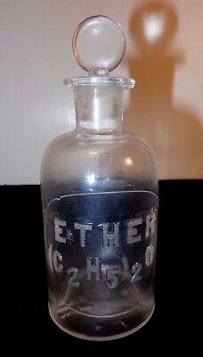 Cir 1879 Whithall & Tatum & Co Apothecary Storage Bottle  Raised Letters Ether