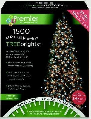 Premier 1500 LED TreeBrights Christmas Tree Lights with Timer - WHITE/WARM WHITE