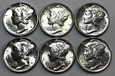 LOT OF SIX: 1942-P/D/S & 1945-P/D/S Mercury Dimes - BRILLIANT UNCIRCULATED - #C2