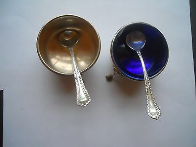 Sterling Silver Salt Condiment Dishes By M. Fred Hirsch And Sterling Spoons