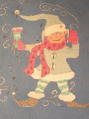 WINTER  ELF FAIRY-Creative Circle Tapestry - PREWORKED  COMPLETED Cross Stitch