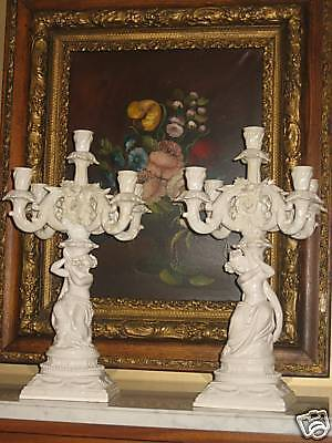 Antique Porcelain Pair Candelabras Art Nouveau Great !!