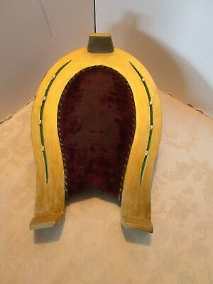"Antique Victorian WOOD FOOT STOOL HORSE SHOE SHAPED VELVET 1890's 15"" W.  VTG"
