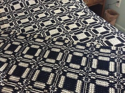 ANTIQUE BLUE AND WHITE REVERSABLE WOVEN COVERLET LATE 1800's