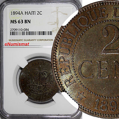 Haiti Bronze 1894-A 2 Centimes NGC MS63 BN SCARCE IN HIGH GRADE KM# 49
