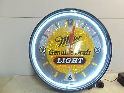 Vintage Miller Genuine Draft Light Neon Clock - Hard To Find