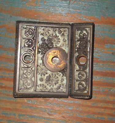 old CAST IRON BACK PLATE FOR THUMB BUTTER FLY TURN FOR CUPBOARD 1870s