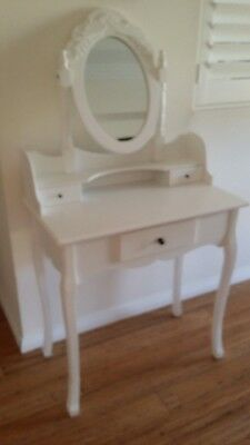 White dressing table with vanity mirror  and stool