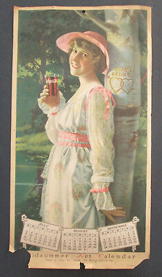 Original - 1916 Coca Cola Calendar - Pearl White - Midsummer Art - Low Open/ NR