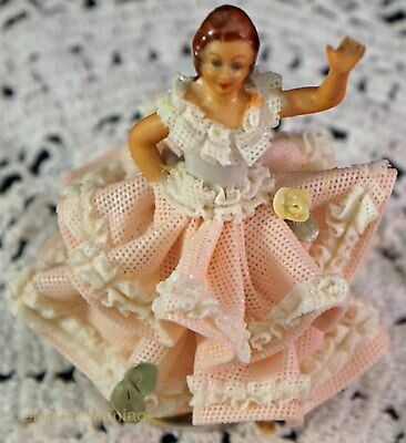 German Dresden Porcelain Pink Ruffle Lace Dress Dancer Girl Crown N