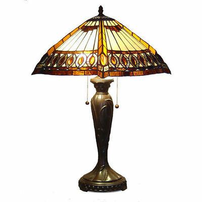 """Tiffany Style Stained Cut Glass Beige Amberjack Table Lamp 2 light 16"""" Shade New"""