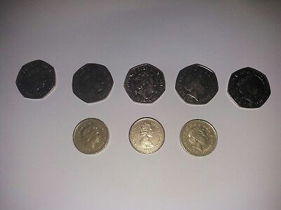 rare  50 pence and £1 coins