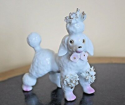"Vintage SPAGHETTI POODLE Dog Pink Flowers Gold Accents Miniature 3.75"" Figurine"