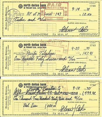 Glenn Ash Andy Griffith Lot Of 3 Signed Checks