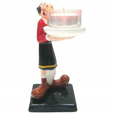 6 Inch Olive Oyl Holding Candle Collectible Painted Ceramic Tea Light