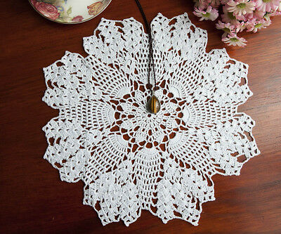 Cotton Hand Crochet Doily Crocheted Doilies Mat Placemat Round 36CM White FP04