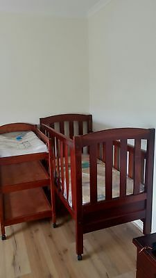 Solid Wood Cot & Change Table + Mattresses