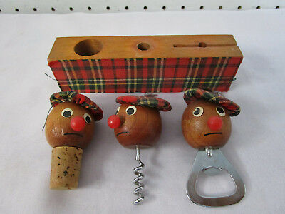 Retro Novelty Wooden Bar Set, Scottish Men, Stopper Corkscrew & Opener