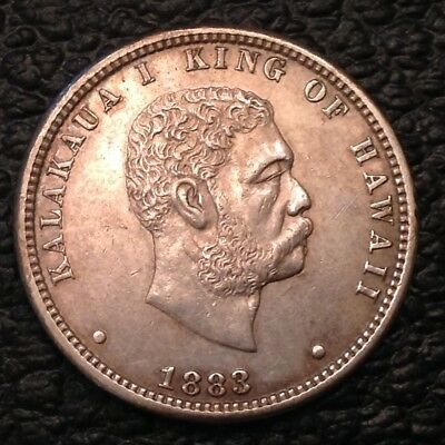 - 1883 Kingdom of Hawaii Quarter Dollar  Kalakaua I AU  Almost Uncirculated