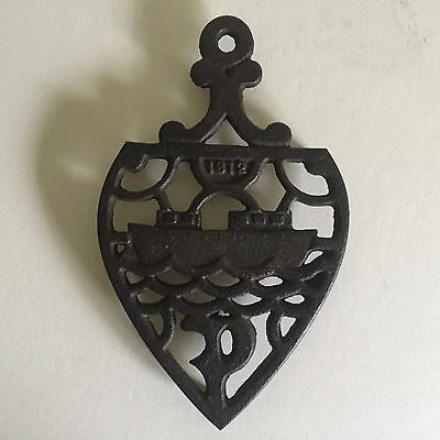 Antique 1812 Cast Iron Ornate Ship Tabletop Trivet