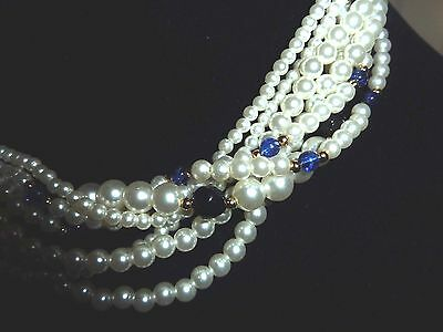 Vintage Faux Pearl Multi Strand Necklace