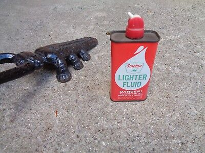 """Vintage """"sinclair Lighter Fluid"""" Can 4 Ounce Can Red/white Lighter Color #2`good"""