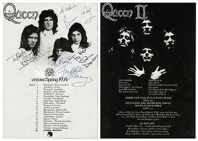 Queen Freddie Mercury Authentic Beautifully Signed/Autographed '74 UK Tour Flyer