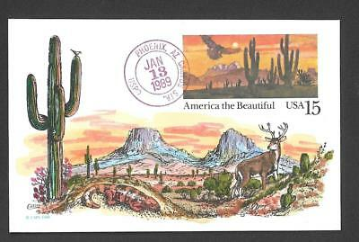 Red-tailed Hawk Sonora Desert FDC, HP Collins, Saguaro Cactus, UX127 Postcard