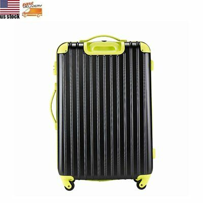 """28"""" Expandable Carry On Luggage Travel Bag Spinner Suitcase ABS Trolley Black"""