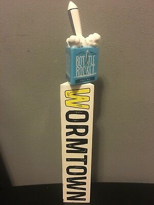 """Wormtown Brewery- Bottle Rocket Wooden Tap Handle 12"""" NICE !!! Rare Htf"""