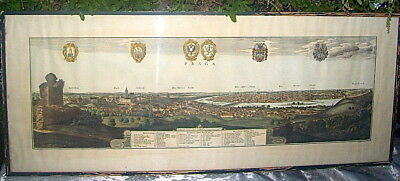 Large Framed Antique Mathias Merian City View Map Of Prague - Hand Colored