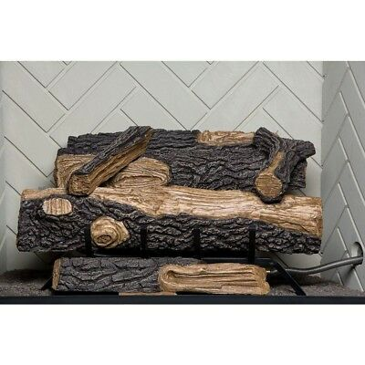 """Vent Free Fireplace Natural Gas Fire Log Set Heat Thermostat 24"""" Emberglow ®"""