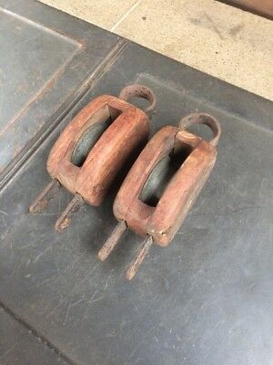 Rare Antique Wooden Marine Single Block Pulleys From Solitary Island Lighthouse