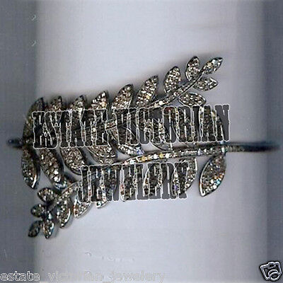 Antique 7.03ct Rose Cut Diamond Sterling Silver Feather Bangle Bracelets Jewelry