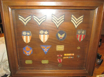 Same Airmans Ww2 Patches Medals Dog Tags Us Army,air Corps,-Mounted Walldisplay