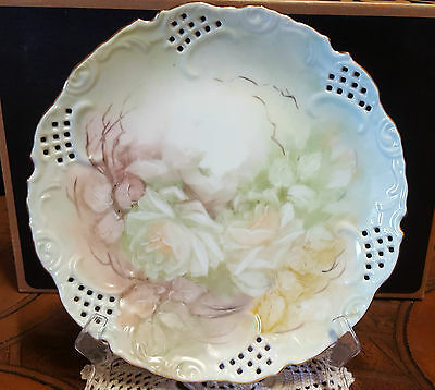 """Collectible """"hand Painted Pastel Roses Glazed Plate"""" Signed"""